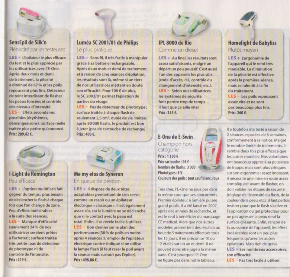 Comparatif des epilateurs la lumi re puls e epilady m for Appareil epilation laser maison